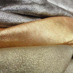 Genuine Italian leather -metallic leather crusts