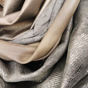 London Leather Woskshop | silver, gold, grey leather skins