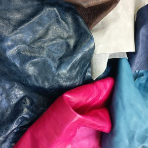 Mixed colours leather offcuts - available at The London Leather Workshop