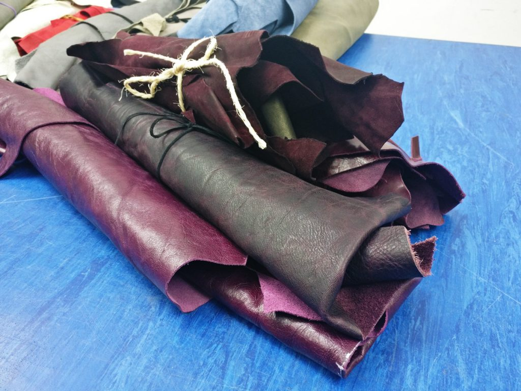 Burgundy and plum Leather bundles - available at The London Leather Workshop