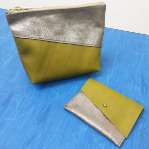 THE LONDON LEATHER WORKSHOP - make up bag and matching coin purse