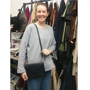 THE LONDON LEATHER WORKSHOP - one of our lovely students with her new shoulder bag